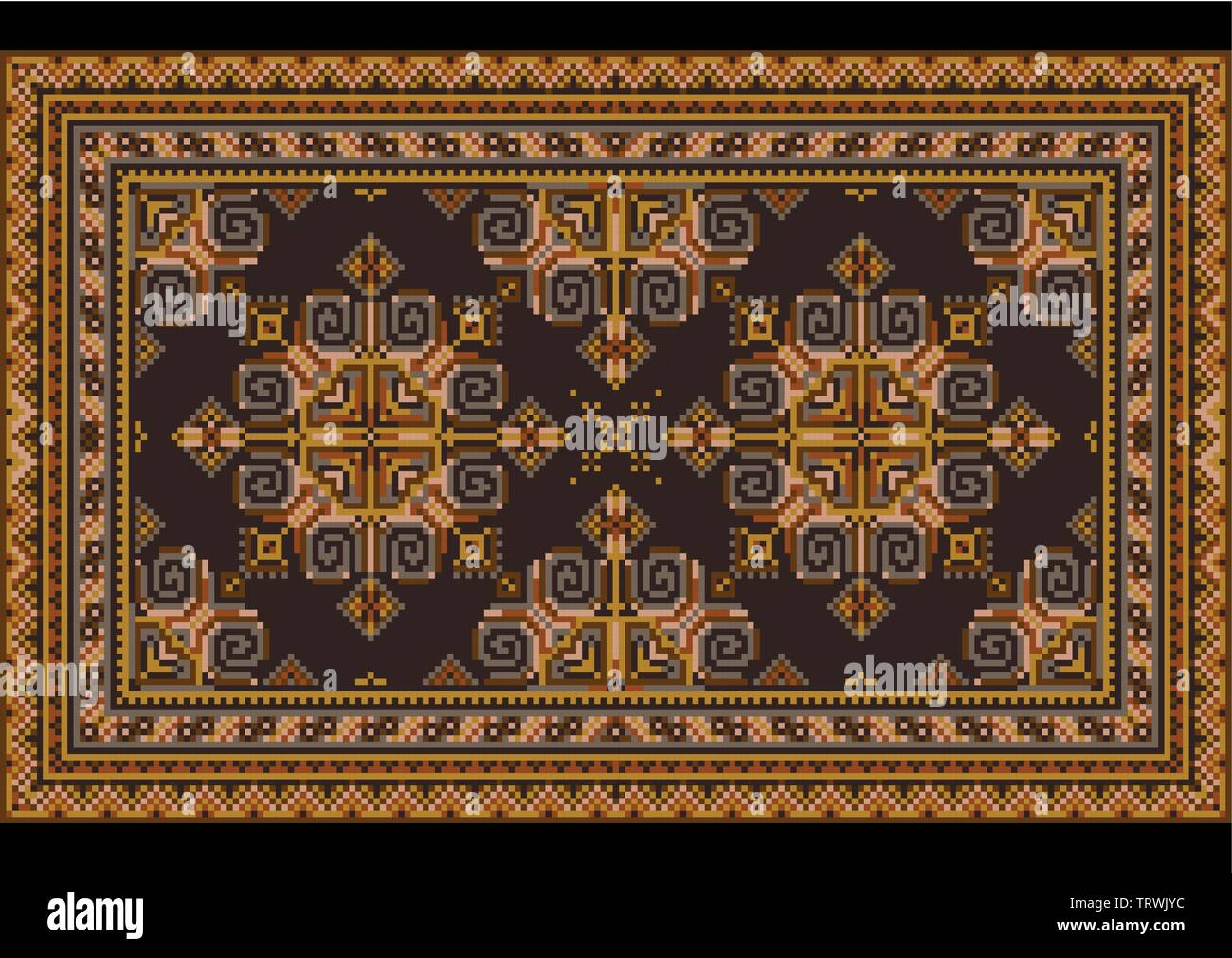 Variegated luxury vintage oriental carpet with dirty orange,yellow, blue and brown shades on black background - Stock Image
