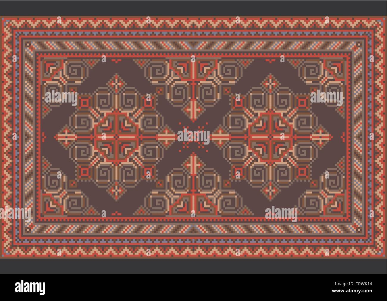 Variegated luxury vintage oriental carpet with red, blue, gray and brown shades on black background - Stock Image