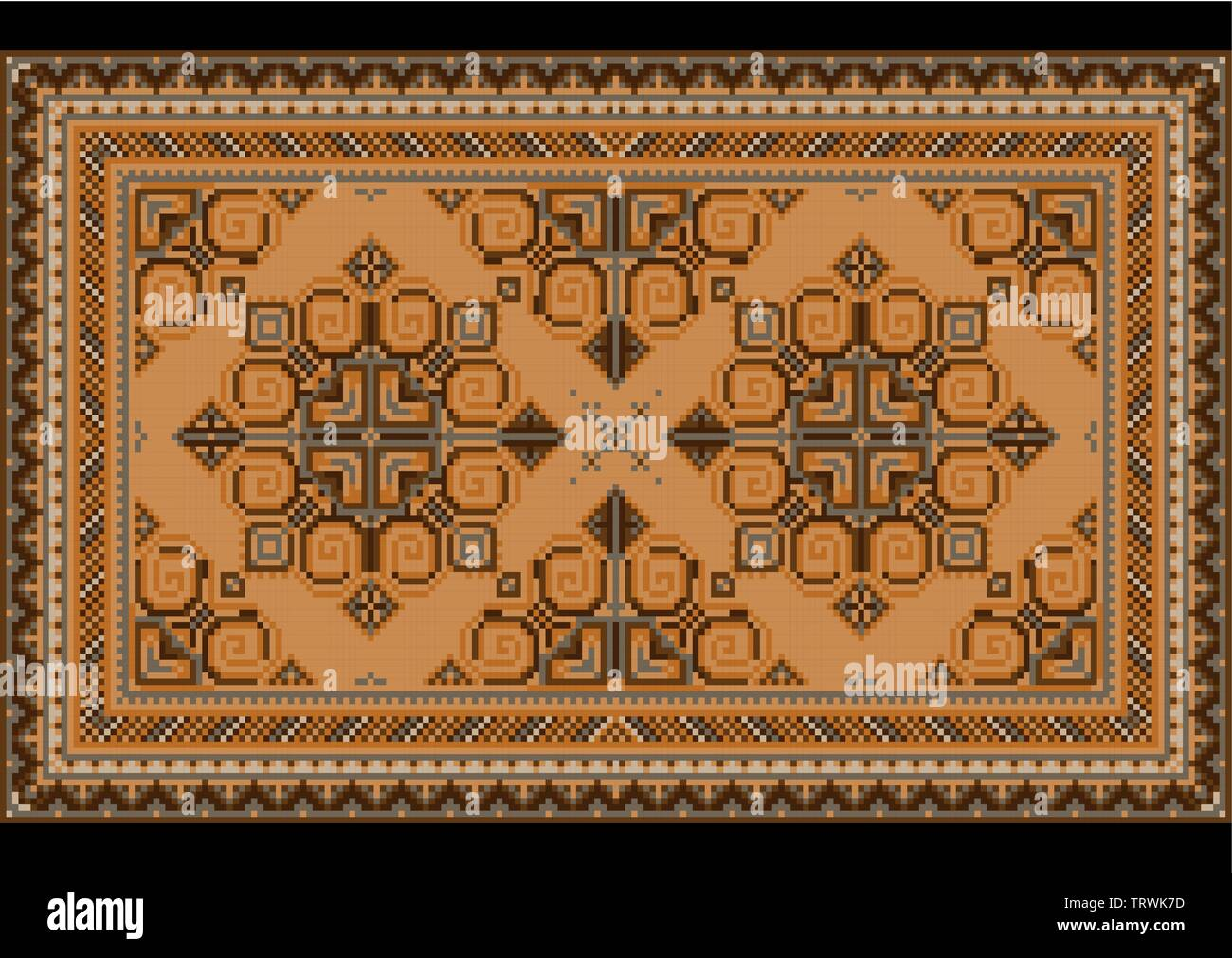 Variegated luxury vintage oriental carpet with brown,gray and yellow shades on black background - Stock Image
