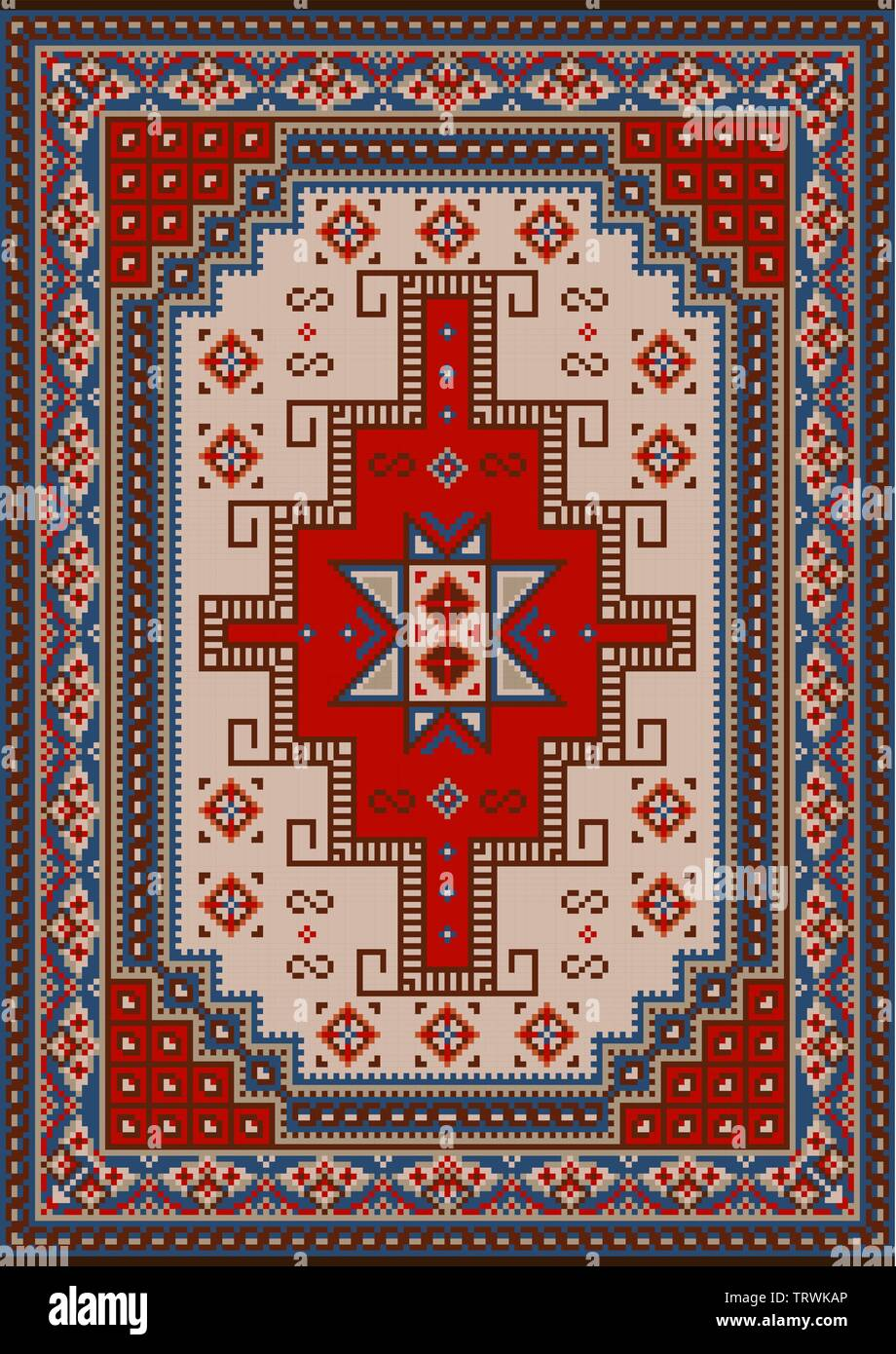 Luxury vintage oriental carpet with red, blue, beige and brown shades on black background - Stock Image