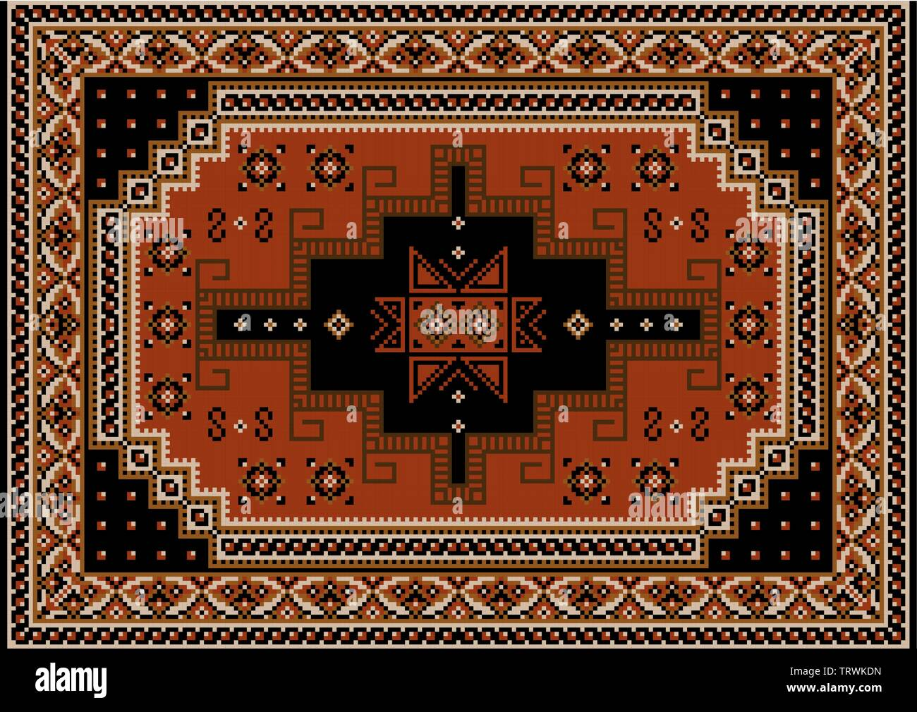 Luxury vintage oriental carpet with red-brown, black, beige and brown shades on black background - Stock Image