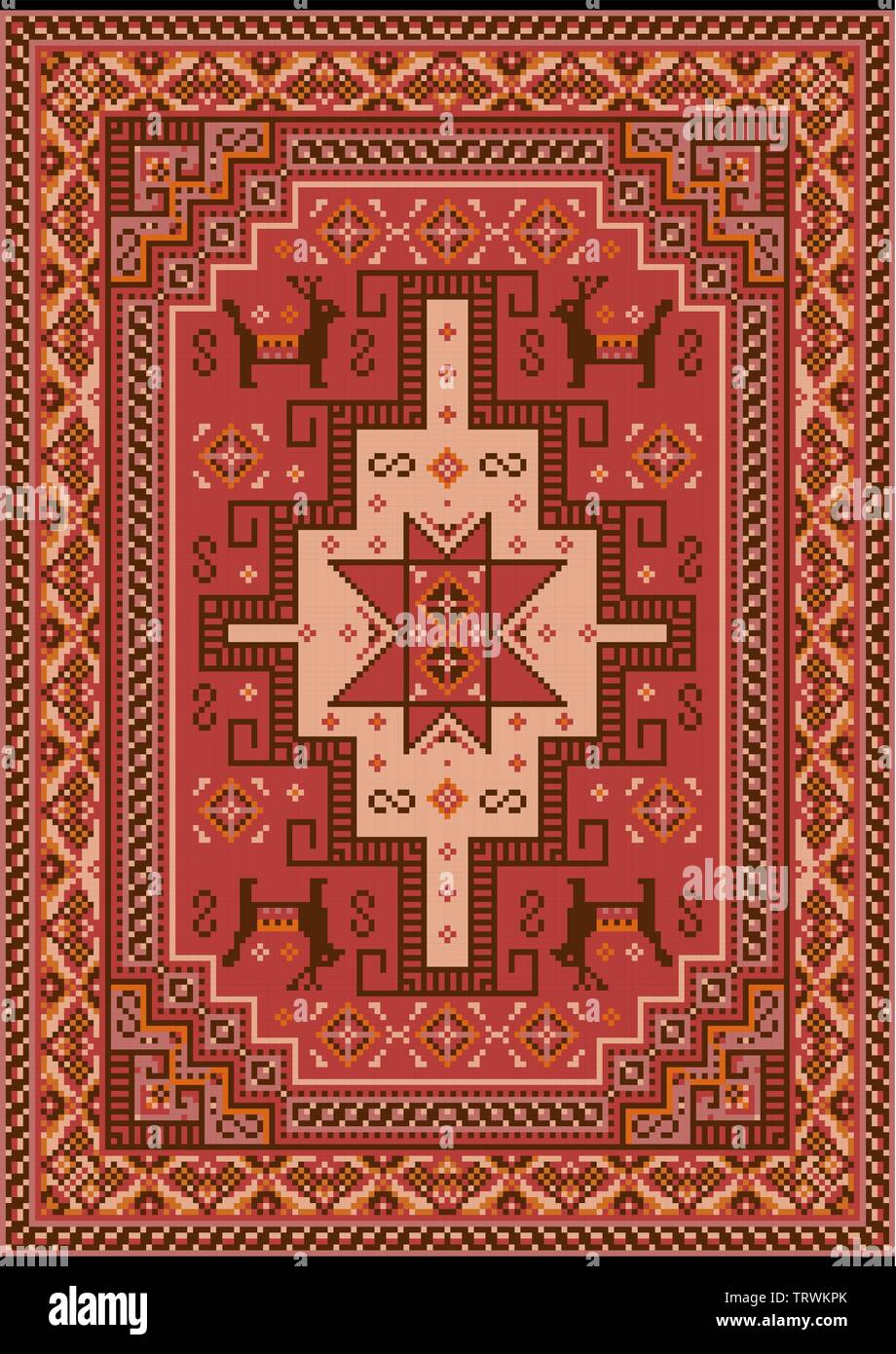 Luxury vintage oriental carpet with red, mauve,brown, beige and orange shades on black background - Stock Image
