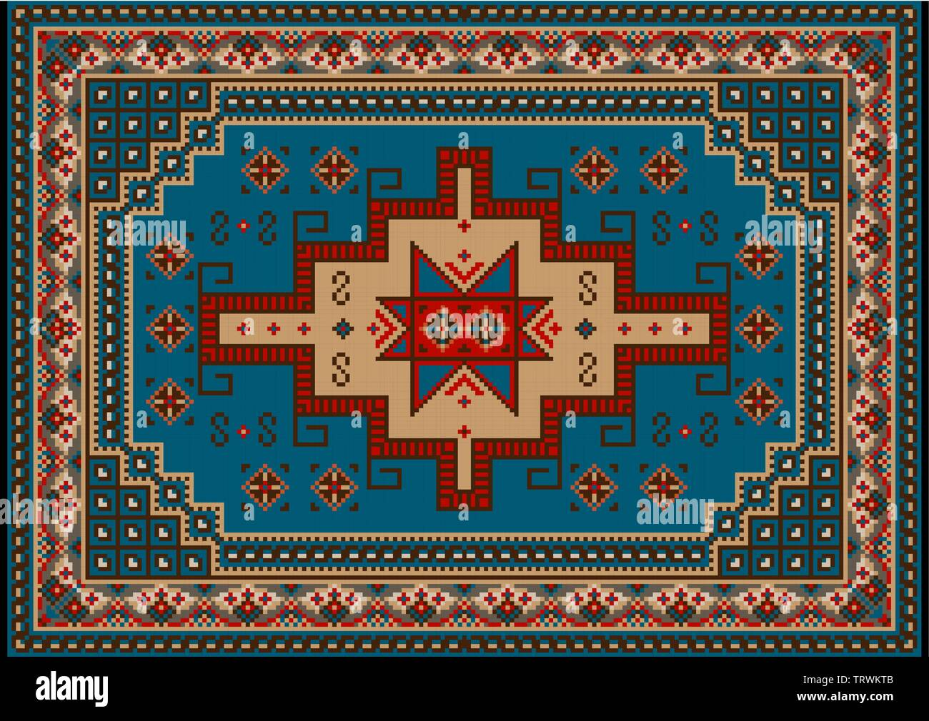 Luxury vintage oriental carpet with blue,red,brown,yellow and beige shades on black background - Stock Image