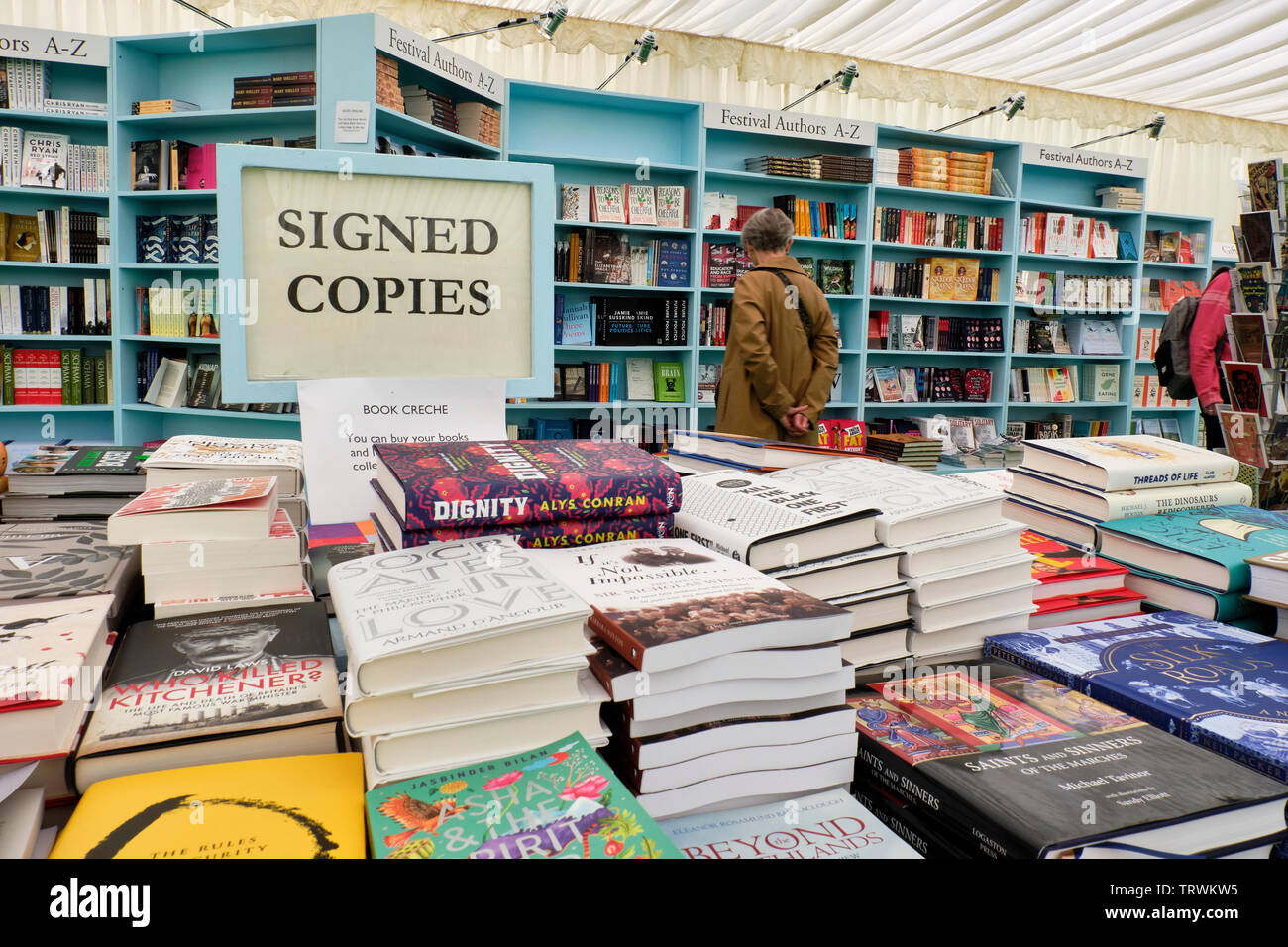 Signed copies of books at the Hay Literary Festival, Hay on Wye, Powys - Stock Image