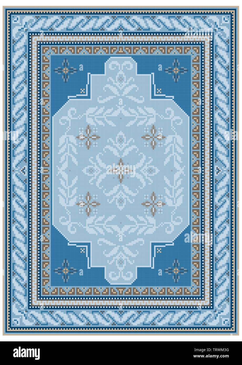Carpet design with ethnic ornament of blue shades and a floral pattern in bluish tones in the on the middle - Stock Image
