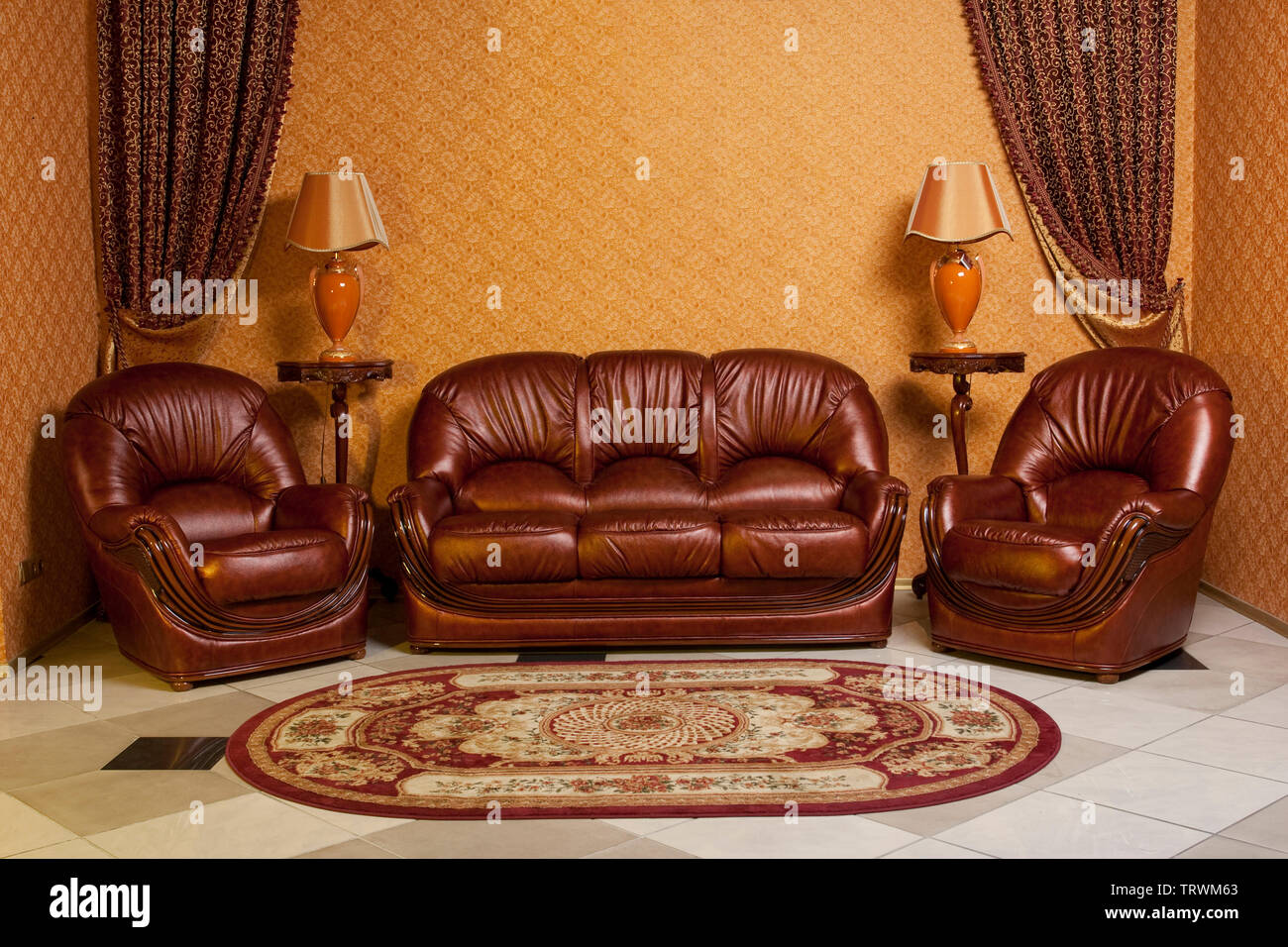 Empty Interior Living Room Background In Warm Colors