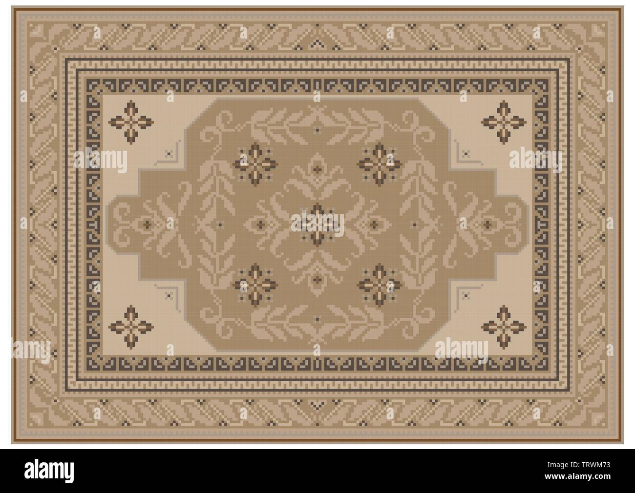 Luxurious carpet design with ethnic ornament of beige shades and a floral pattern in light brown shades in the center - Stock Image