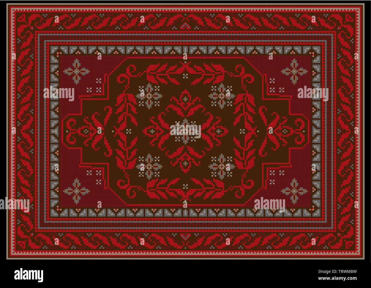 Carpet design with ethnic ornament of red and burgundy shades and red floral pattern on brown on the middle - Stock Image