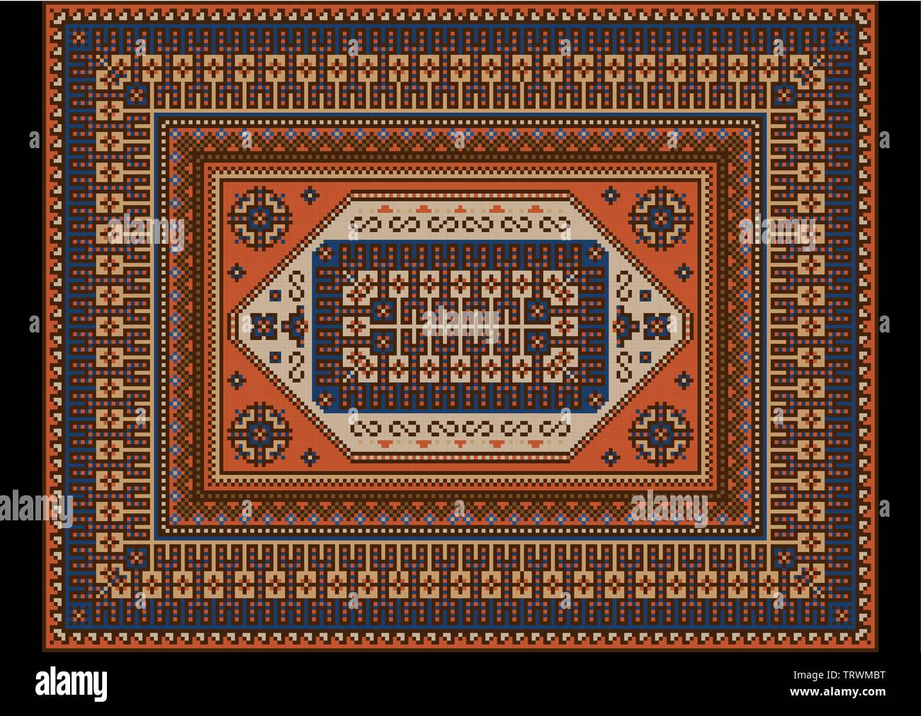 Original luxurious bright vintage oriental rug with orange,blue and brown shades - Stock Image