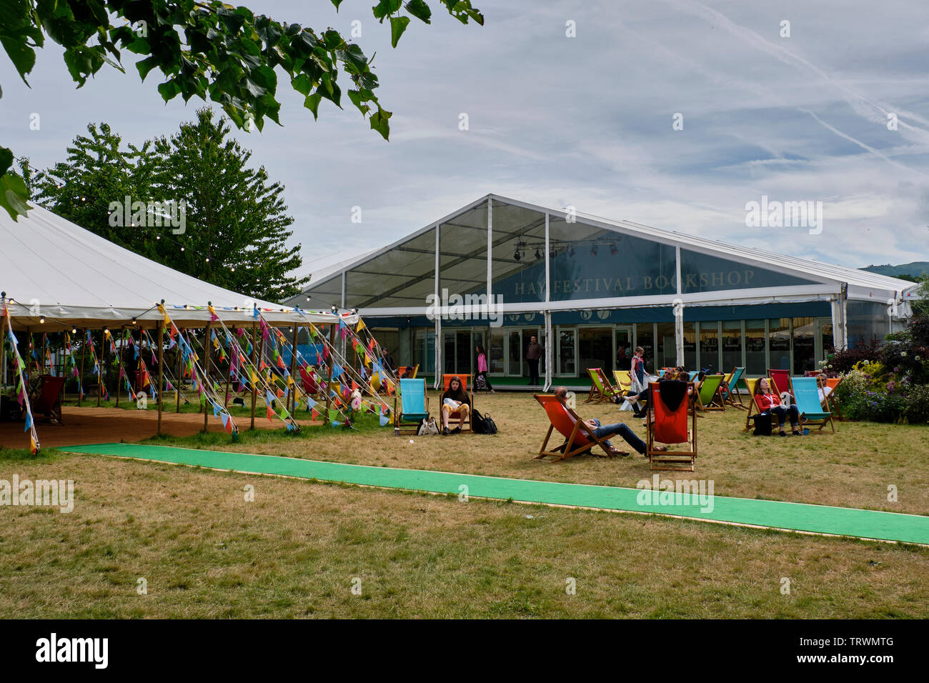 The Hay Festival Bookshop at the Hay Literary Festival, Hay on Wye, Powys - Stock Image