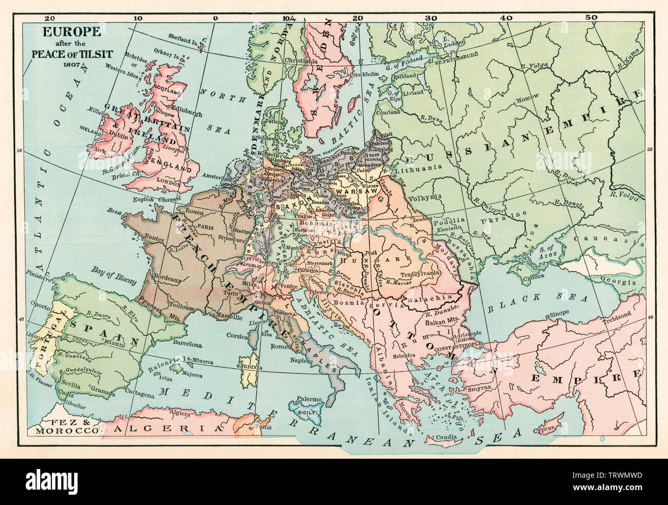 Map of Europe after the Peace of Tilsit, Napoleonic Wars, 1807. Color lithograph - Stock Image