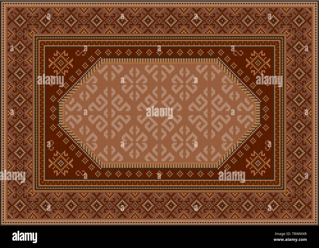 Vintage luxury oriental carpet in brown tones with patterns of burgundy, beige and yellow color - Stock Image