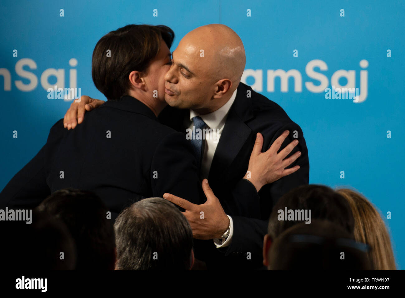 London, UK. 12th June, 2019. Scottish Conservative leader Ruth Davidson embraces Home Secretary Sajid Javid who today launched his bid to be leader of the Conservative and Unionist Party and Prime Minister. Credit: Claire Doherty/Alamy Live News Stock Photo
