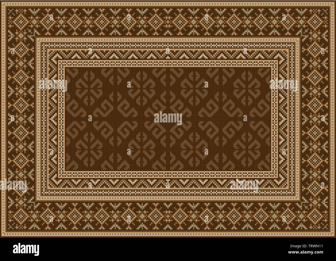 Luxury vintage oriental carpet in brown shades with patterns of beige, dirty green and yellowish colors - Stock Image