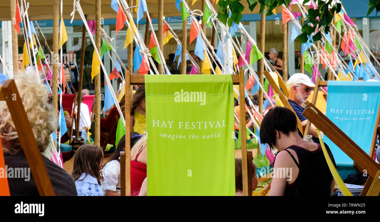 Hay Festival deckchair at the Hay Literary Festival, Hay on Wye, Powys - Stock Image
