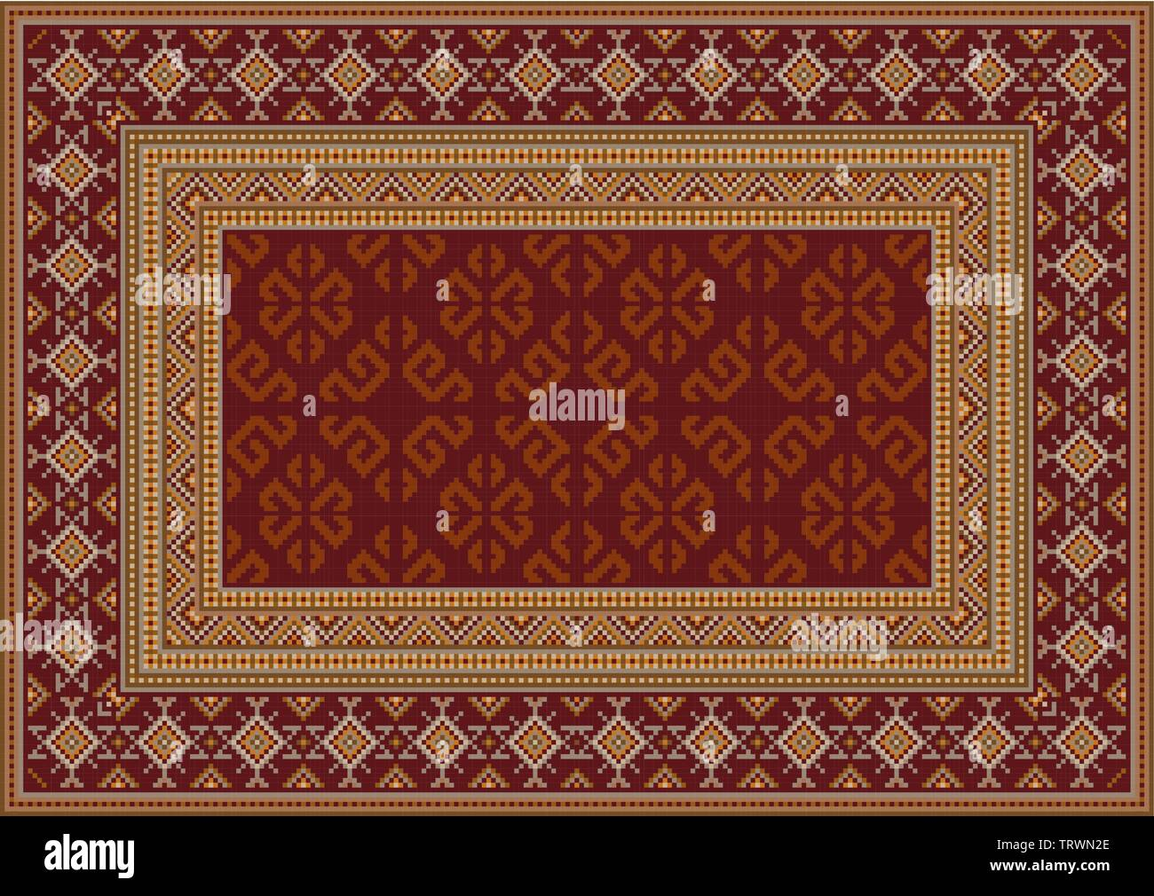 Luxury vintage oriental carpet in maroon shades with patterns of yellow, beige and grey colors - Stock Image