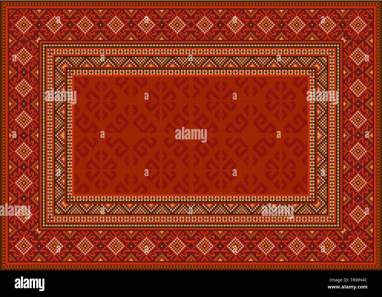 Luxury vintage oriental carpet in red shades with patterns of yellow, beige and maroon colors - Stock Image
