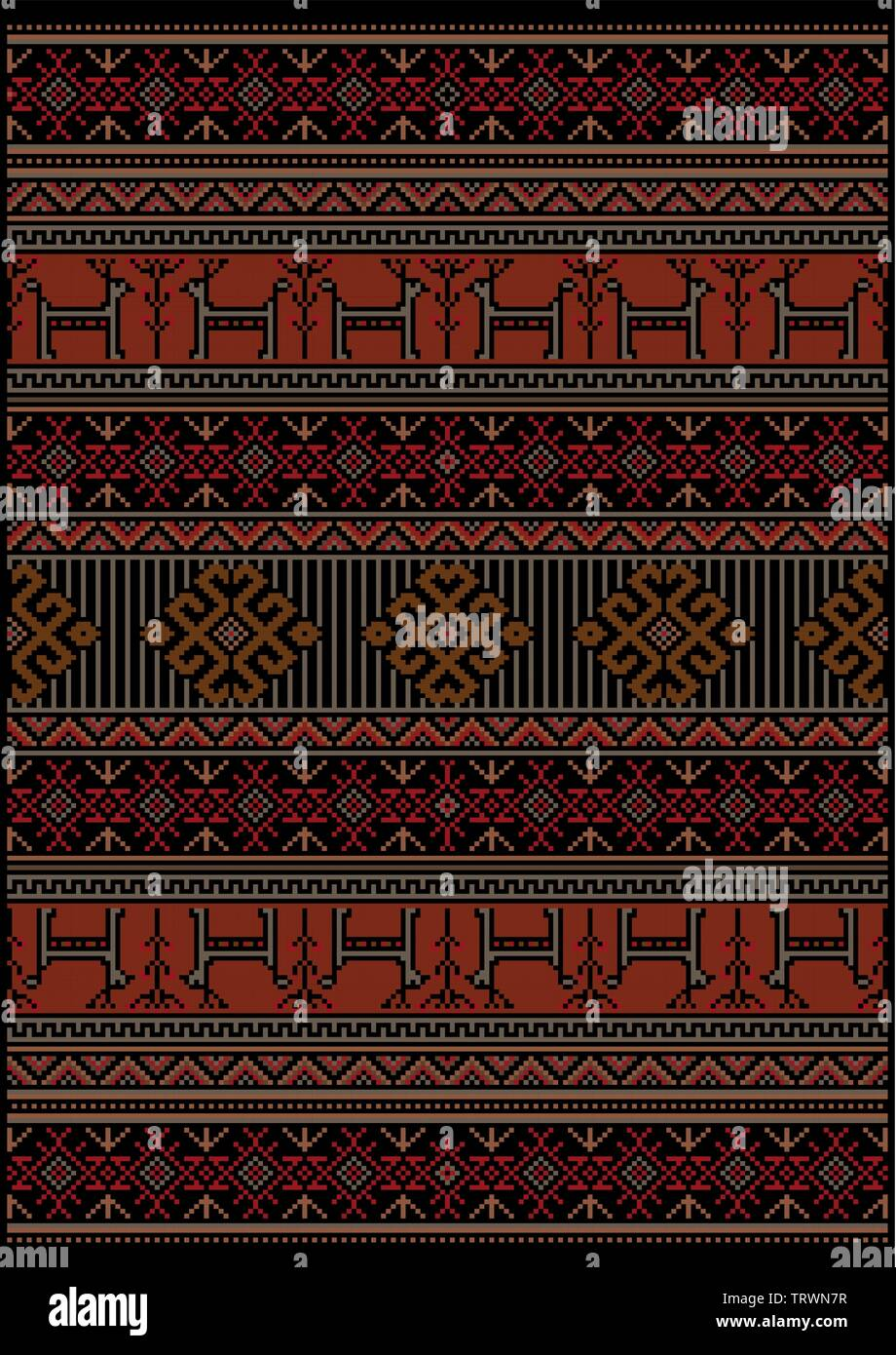 Original luxury vintage carpet with ethnic pattern in red and black colors with gray deer and flowers - Stock Image