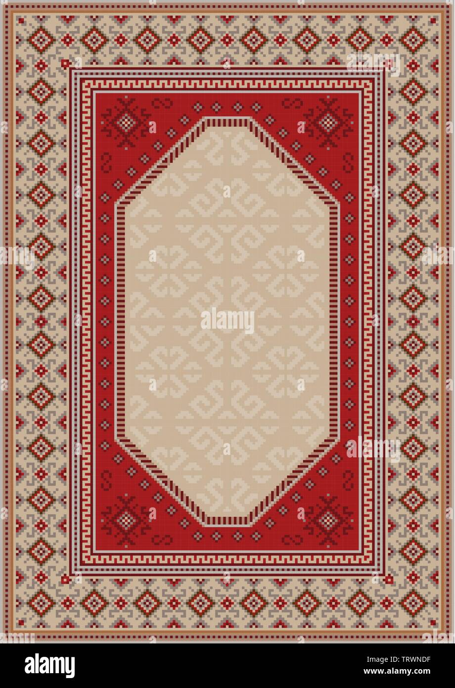 Vintage luxury oriental carpet in beige tones with patterns of red, gray, and burgundy color - Stock Image