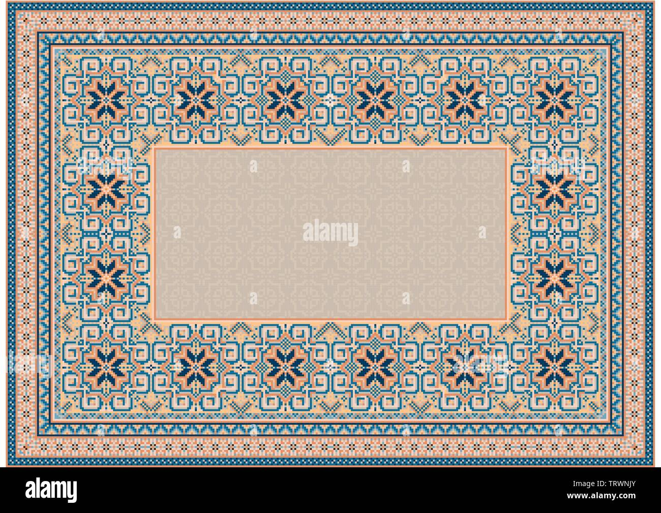 The pattern of a luxury old oriental carpet with gently orange and blue tones on white background - Stock Image