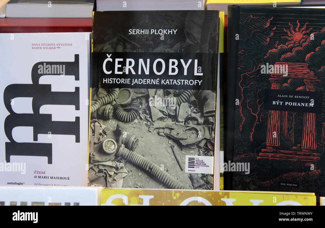 Chernobyl Disaster book in a Prague bookshop window - Stock Image