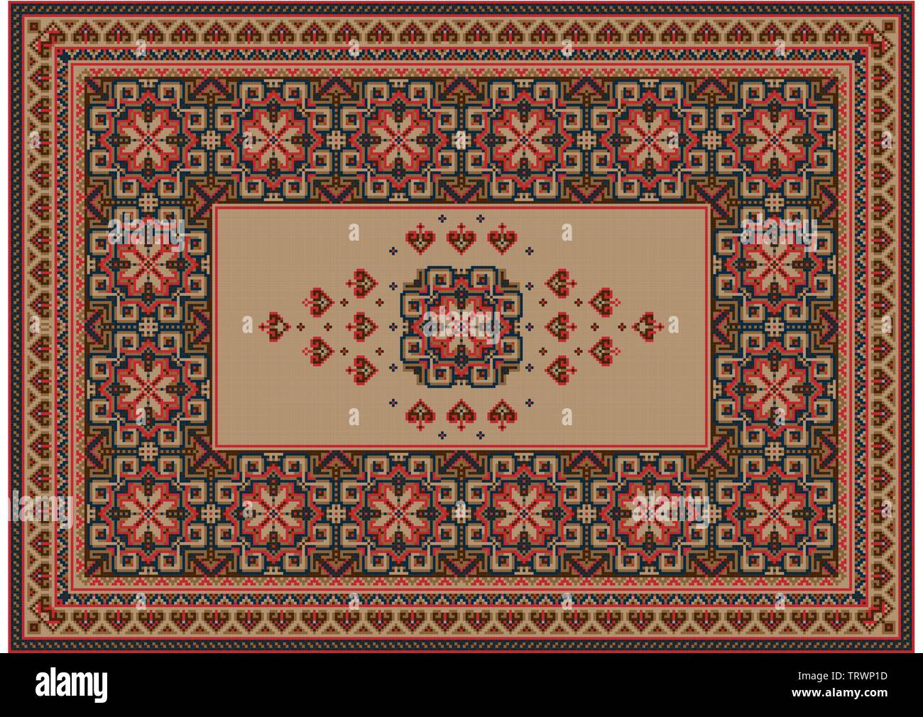 Image of a luxurious old oriental carpet with brown, beige and red patterns and ornament in the center on a beige background - Stock Image