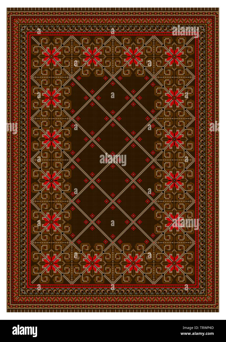Pattern for old oriental carpet in brown and red colors with intersecting beige stripes run down the center on a white background - Stock Image