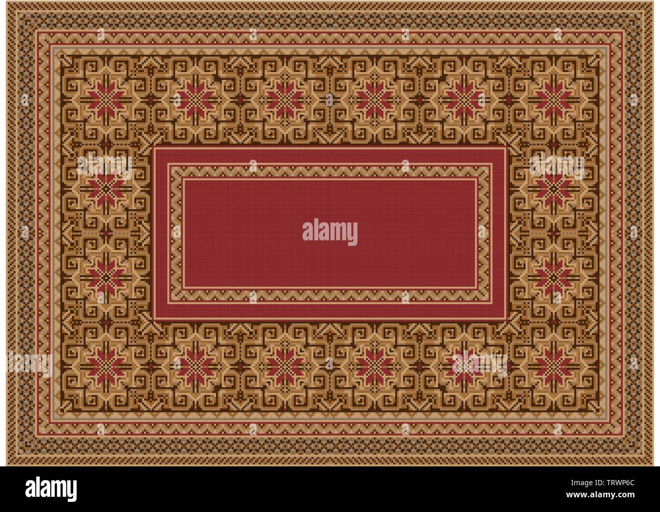 Drawing of a luxurious old oriental carpet with red, beige and brown hues and a patterned border in the middle on a white background - Stock Image