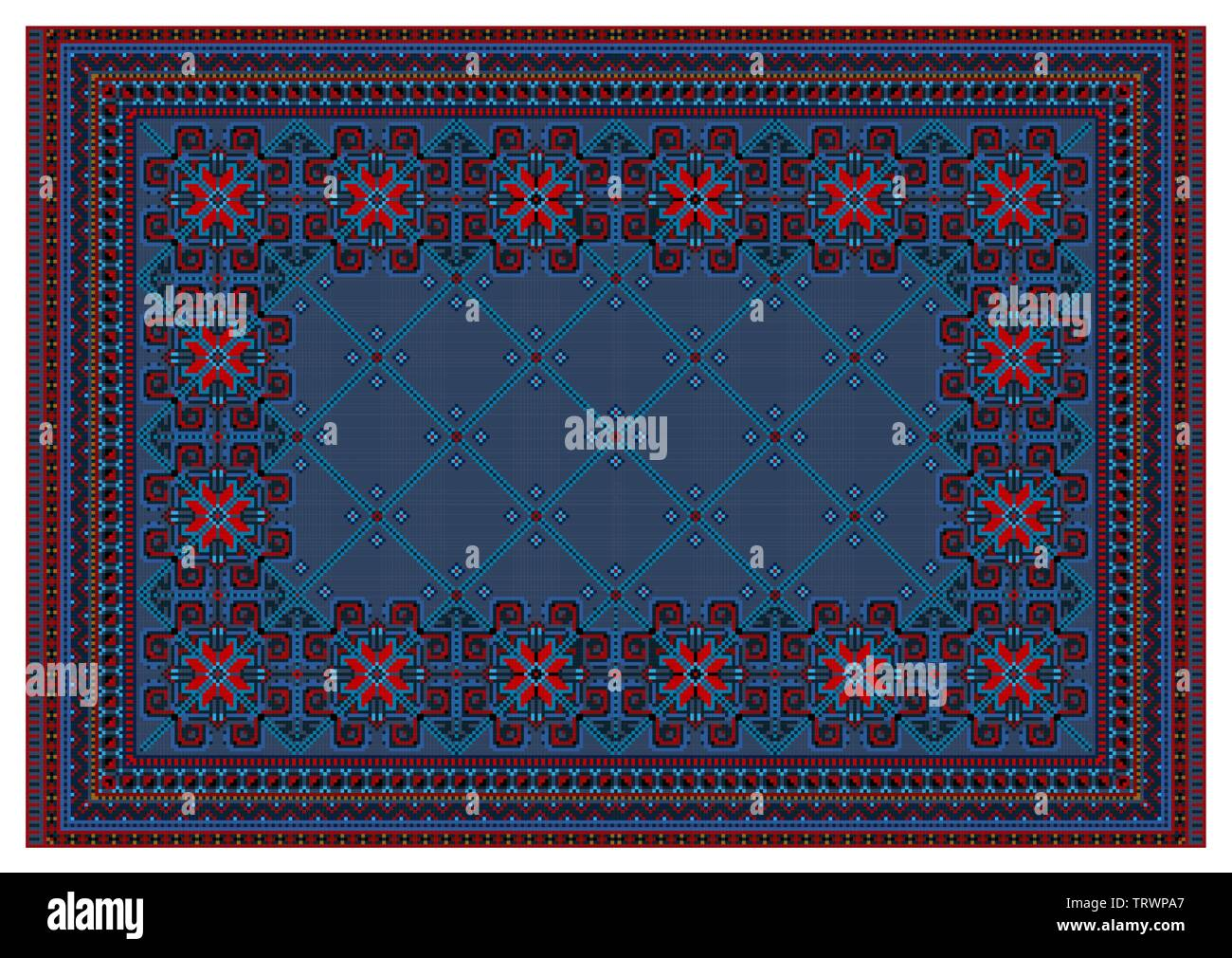 Pattern for old oriental carpet in blue and red colors with intersecting bluish stripes run down the center - Stock Image