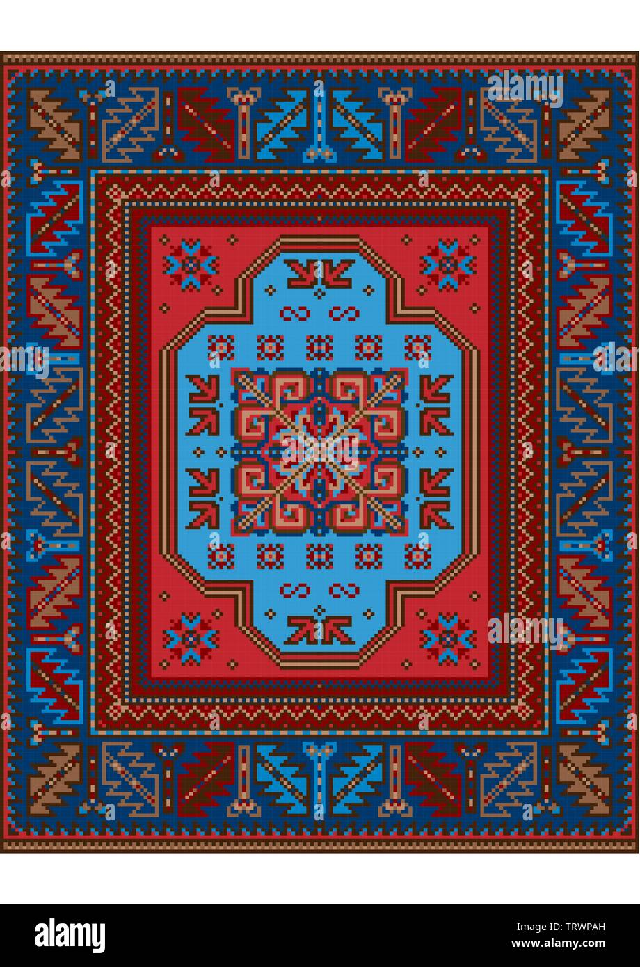 Variegated pattern of a luxury old oriental carpet with blue,brown and  red shades on white background - Stock Image