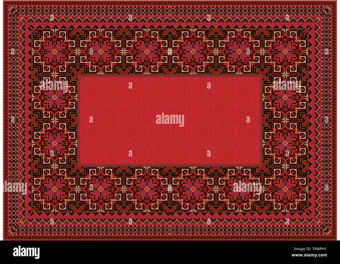 The pattern of a luxury old oriental carpet with red,brown and beige shades on black background - Stock Image