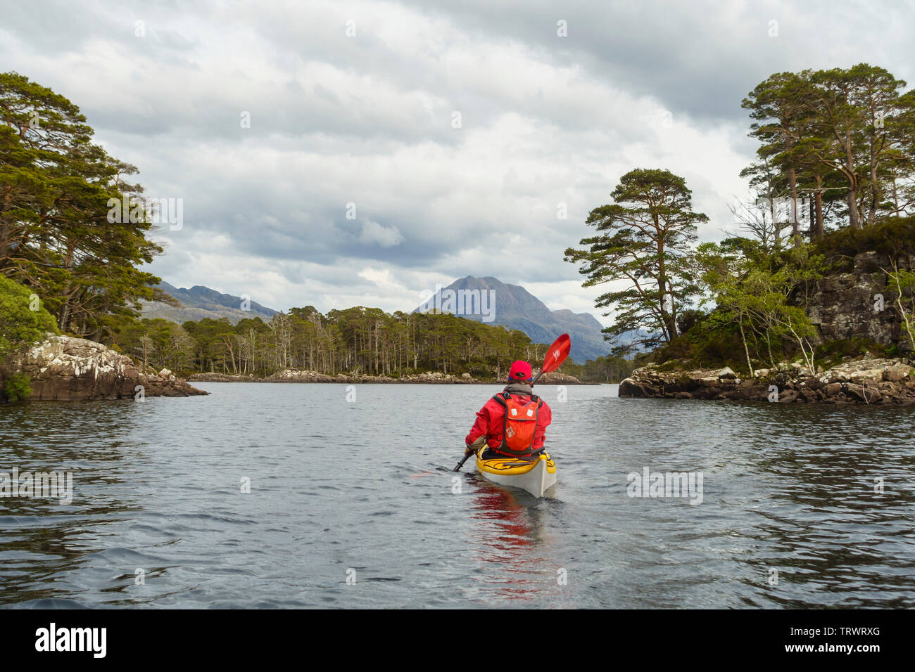 Kayaking on Loch Maree, Wester Ross, Highlands, Scotland - Stock Image
