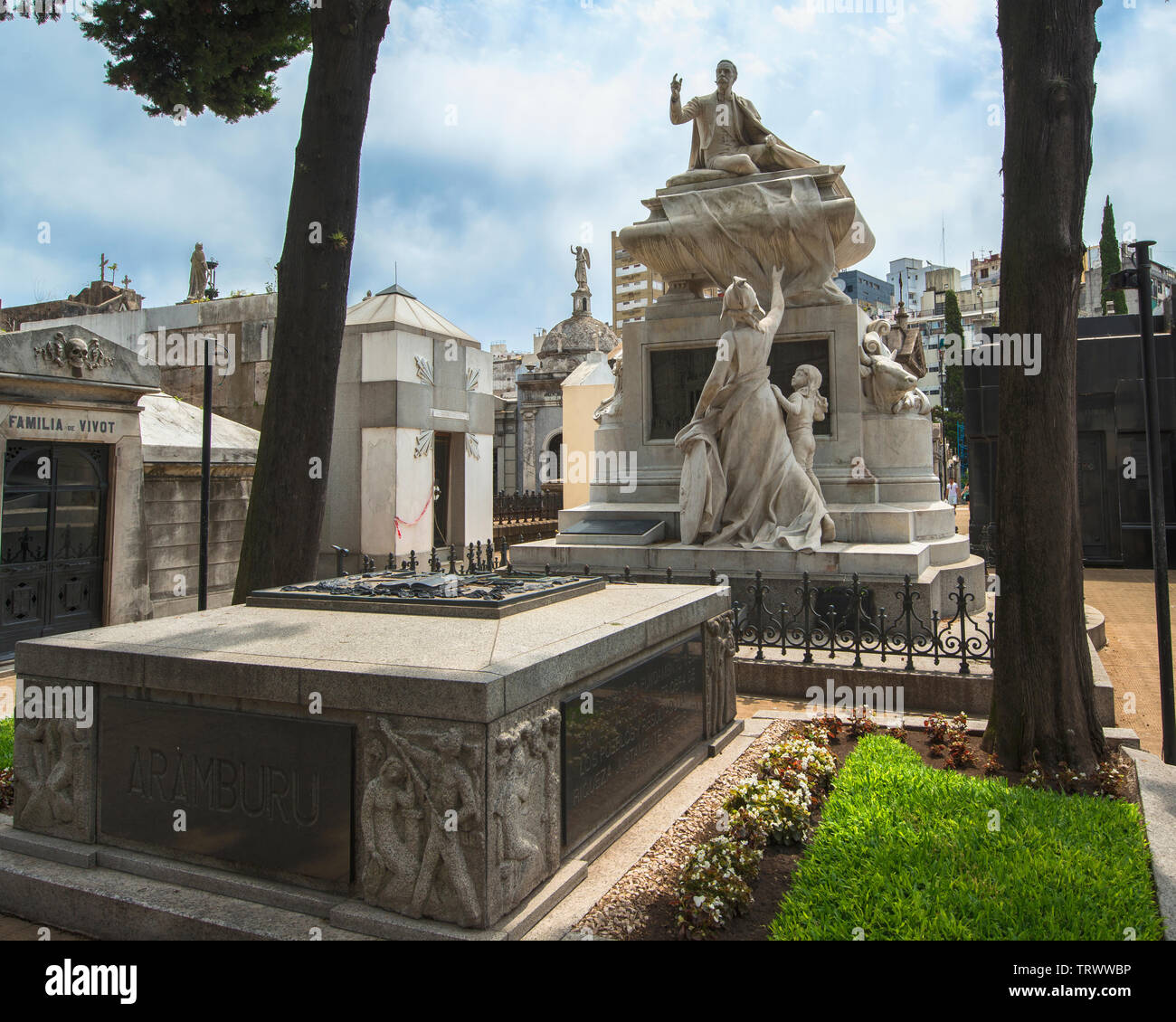 La Recoleta Cemetery of Buenos Aires, Argentina. It contains the graves of notable people, including Eva Peron, Argentinian presidents... Stock Photo
