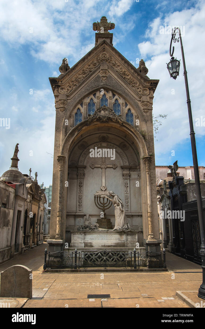La Recoleta Cemetery of Buenos Aires, Argentina. It contains the graves of notable people, including Eva Peron, Argentinian presidents... - Stock Image