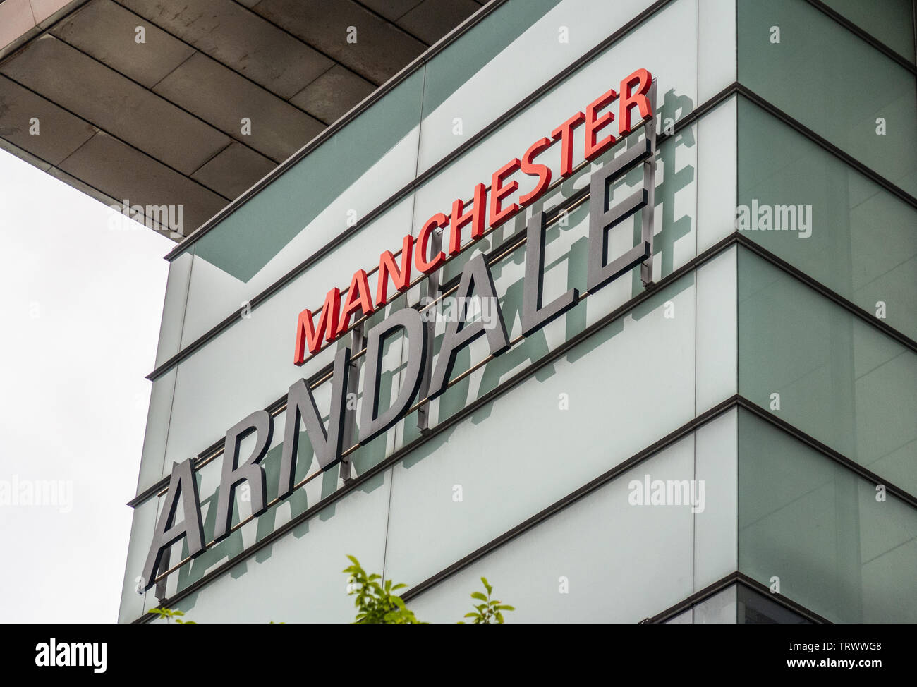 Manchester Arndale Shopping Centre sign, England, UK - Stock Image