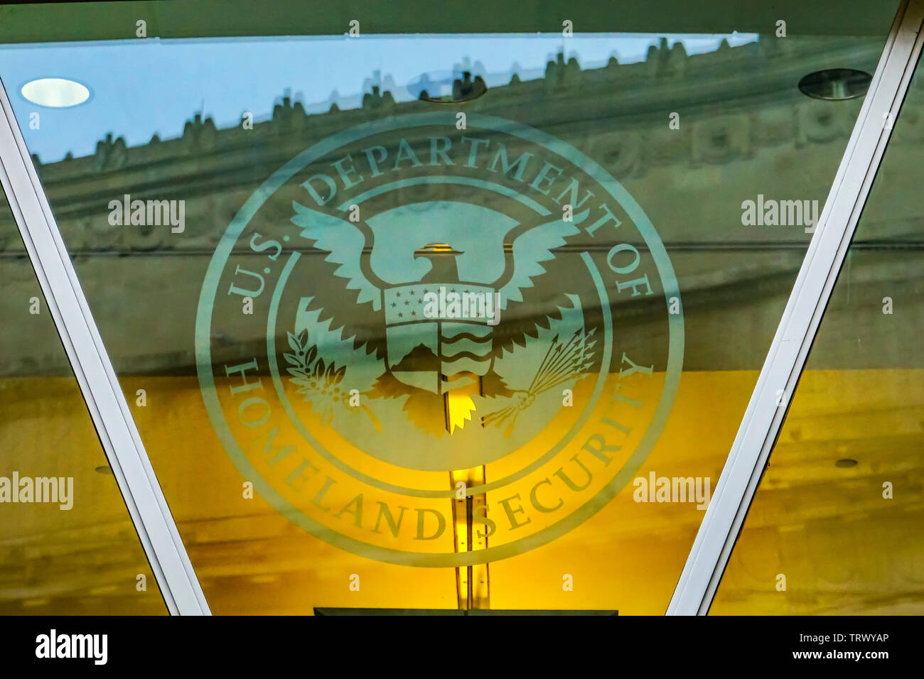 Department of Homeland Security US Department of Homeland Security Symbol Ronald Reagan International Trade Building Washington DC Stock Photo