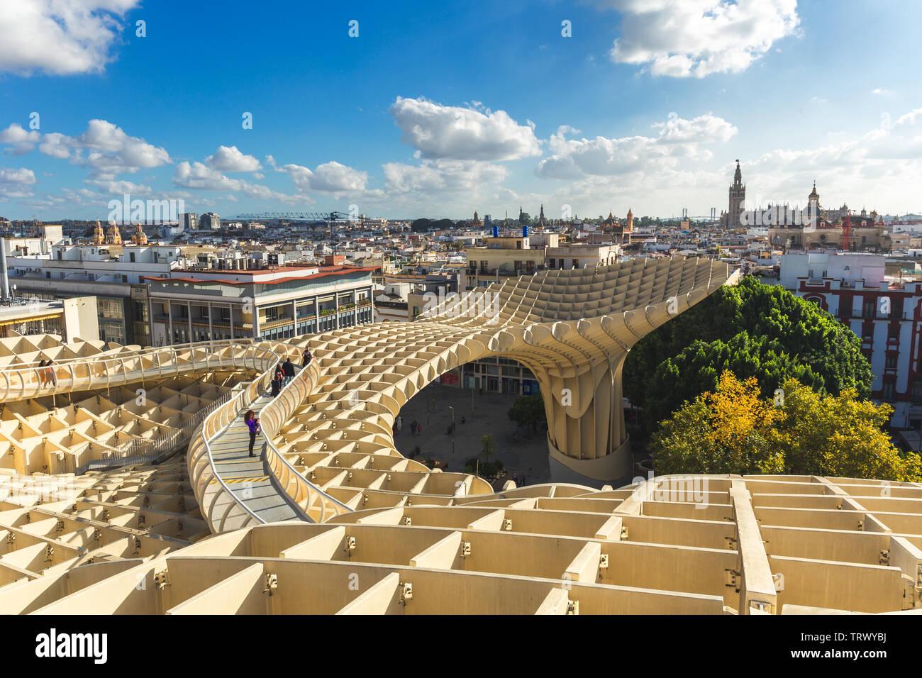 Spain, Andalusia, Sevilla, The Metropol Parasol in Plaza de la Encarnacion, better known as Las Setas Stock Photo