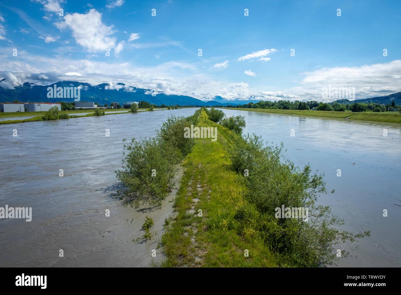 Überschwemmung und Hochwasser am Rhein - Stock Image