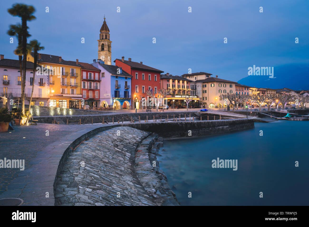 Ascona, at night, canton, TI, Ticino, South Switzerland, town, city, night, dark, Switzerland, Europe - Stock Image