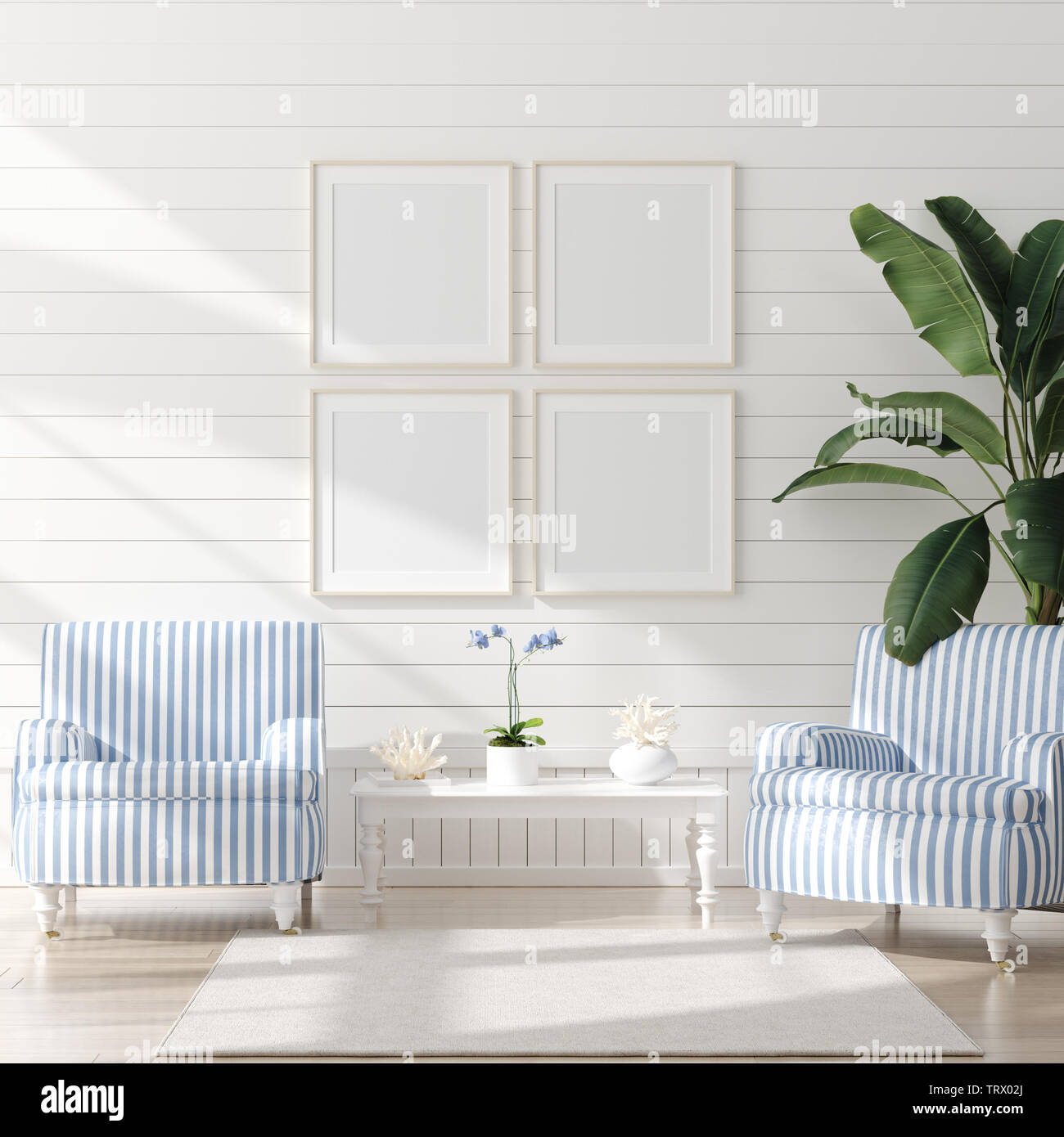 Mock Up Frame In Home Interior Background Coastal Style Living Room With Marine Decor 3d Render Stock Photo Alamy