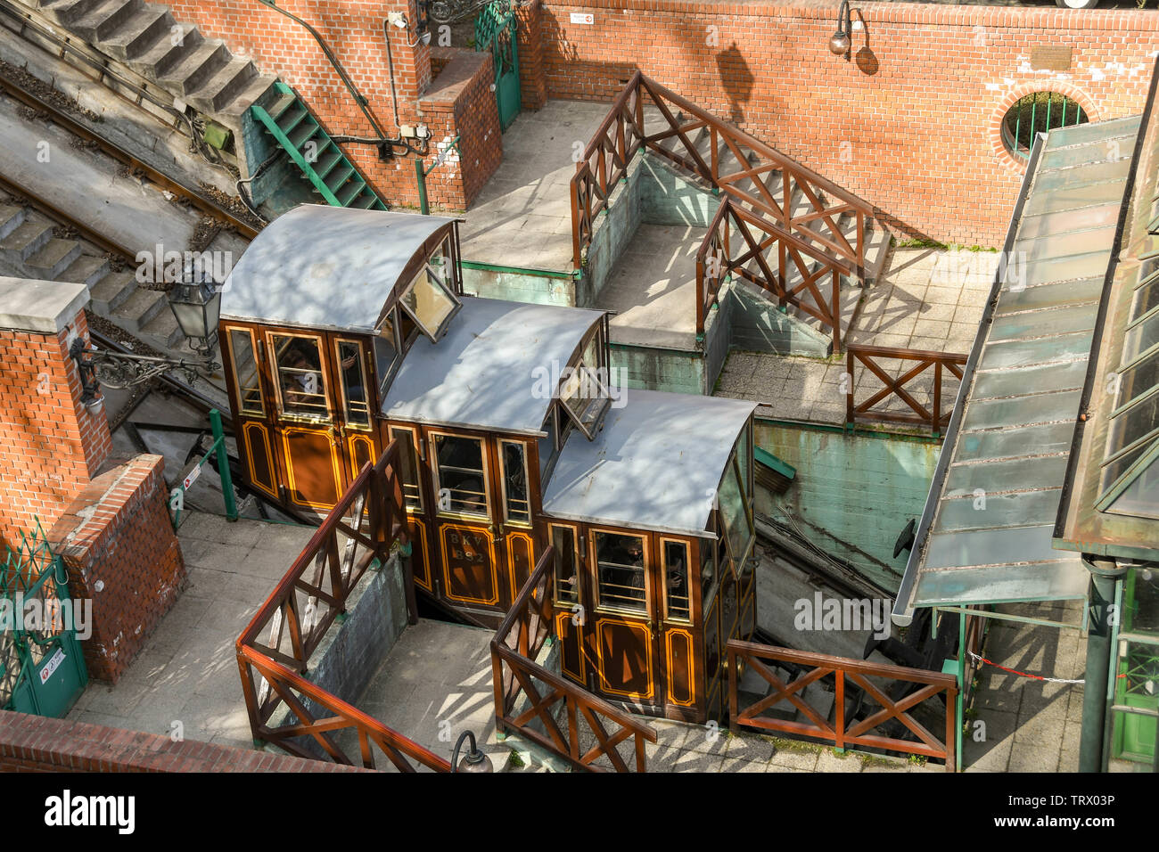 """BUDAPEST, HUNGARY - MARCH 2018: Aerial view of the base station of the Budapest Castle Hill Funicular railway or """"Budavári Sikló"""". Stock Photo"""