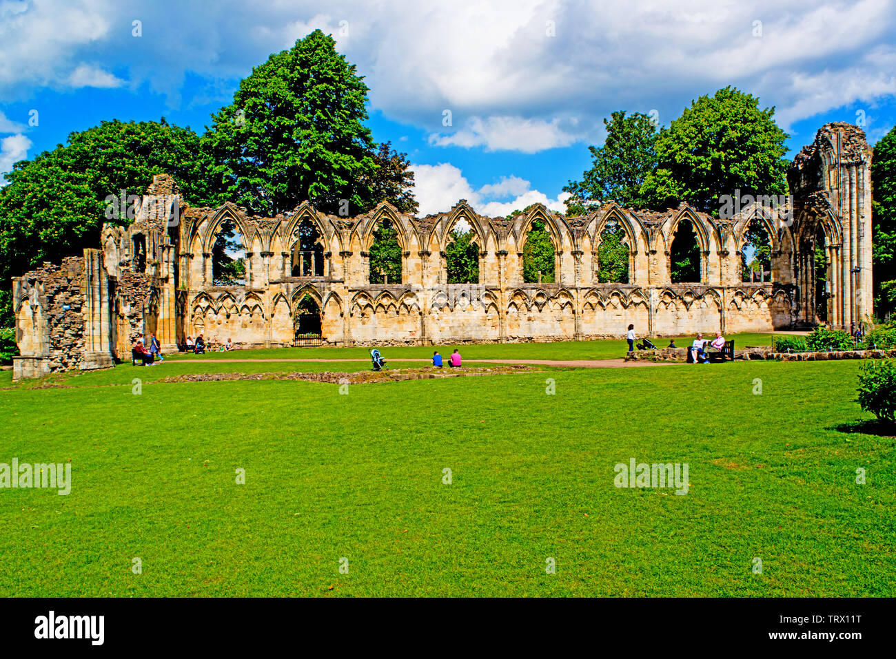 Ruins of St Marys Abbey, Museum Gardens, York, England Stock Photo