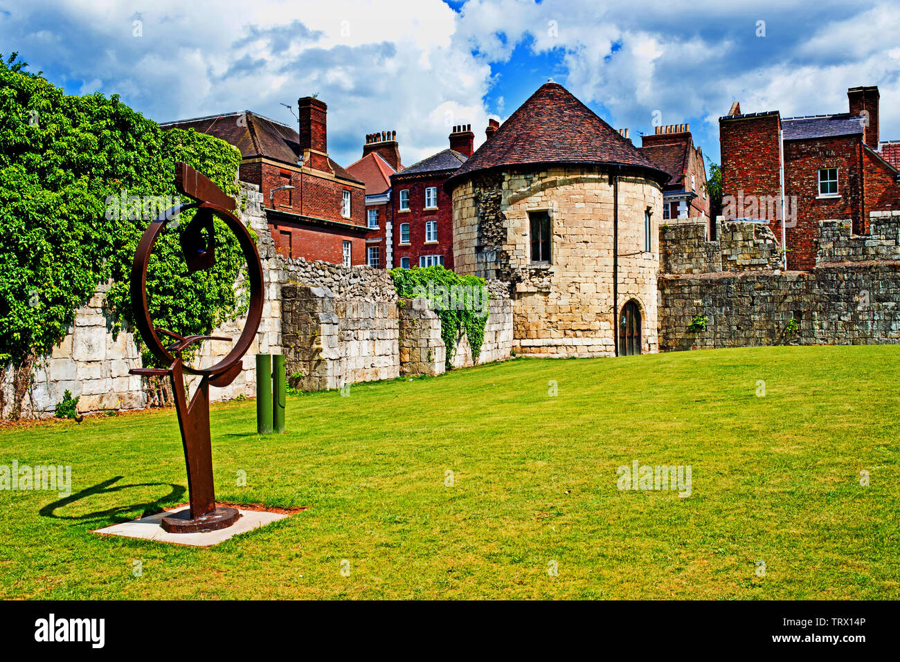 Marygate Tower and sculpture, Marygate, York, England Stock Photo
