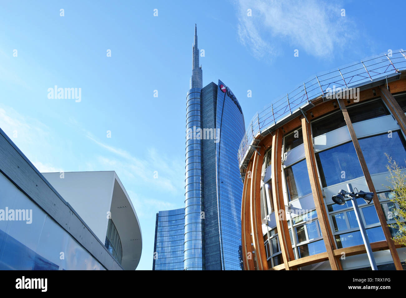 Milan/Italy - March, 28, 2015: View to futuristic Unicredit Pavilion during its construction period and Unicredit tower in background. Stock Photo