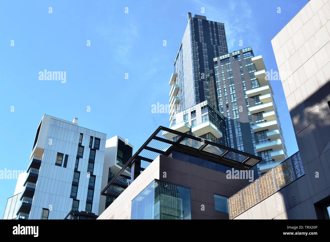 Modern highly technological look of the new residences of the district Porta Nuova in Milan. Stock Photo