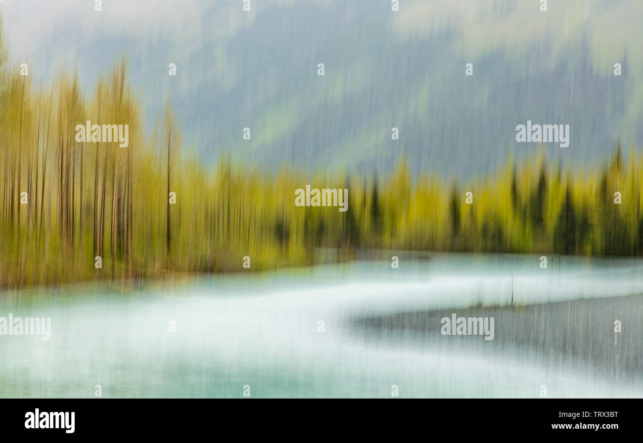 In-camera motion blur of Portage Creek in the Chugach National Forest in Southcentral Alaska. - Stock Image
