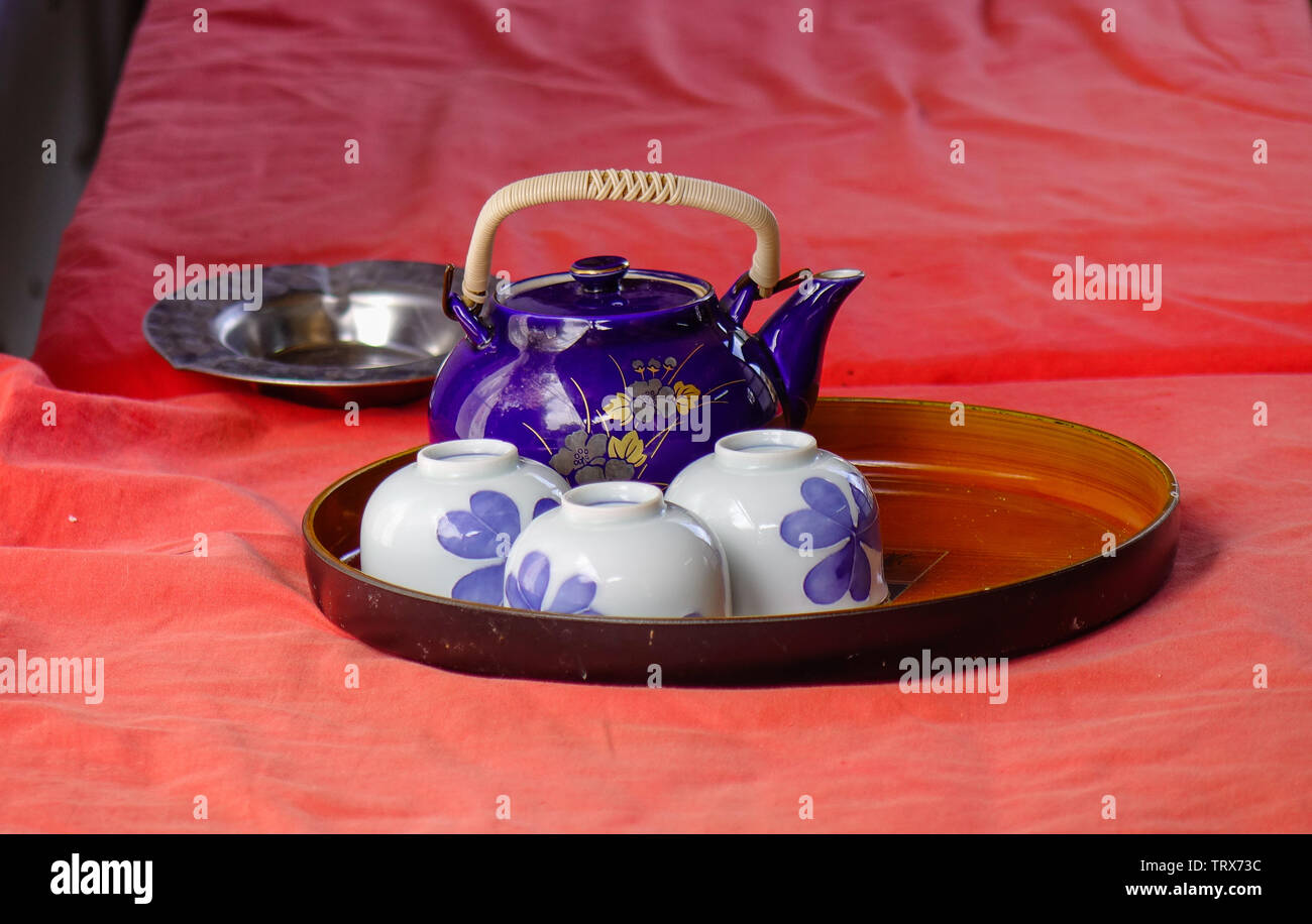 Ceramic Teapot With Cups Japan Style On Red Table Stock Photo Alamy