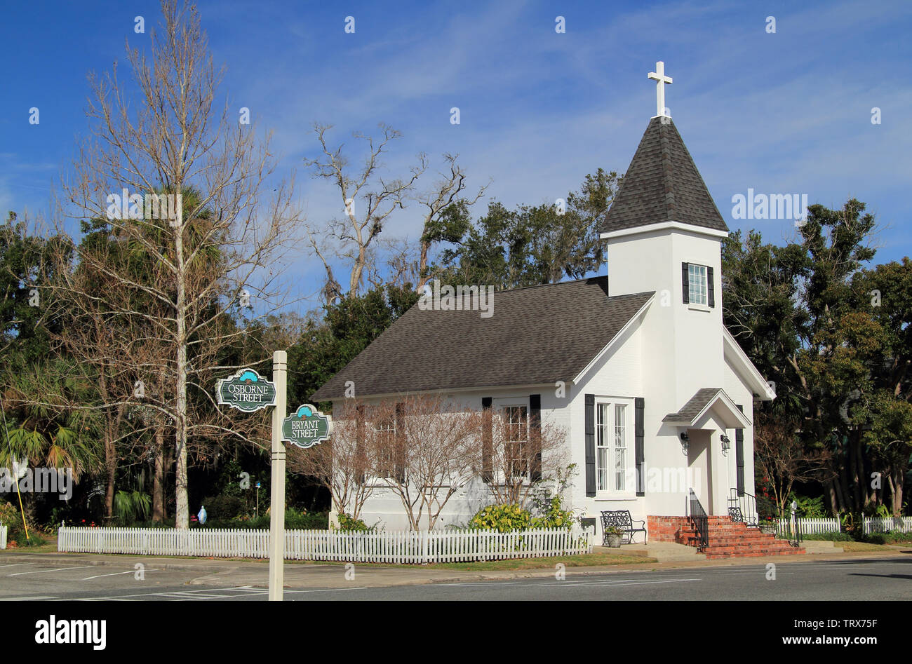 Our Lady Star of the Sea Catholic Church is one of the oldest religious structures located within the St. Marys Historic District in Georgia Stock Photo