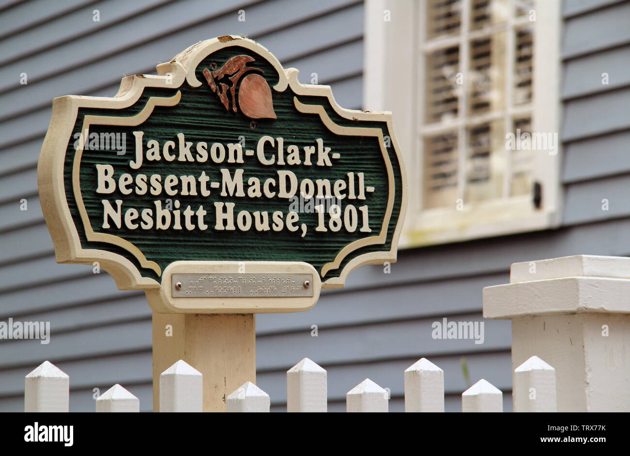 The historic Clark Home in St. Marys, GA, is famous for serving as Aaron Burr's temporary hideout following his infamous dual with Alexander Hamilton Stock Photo
