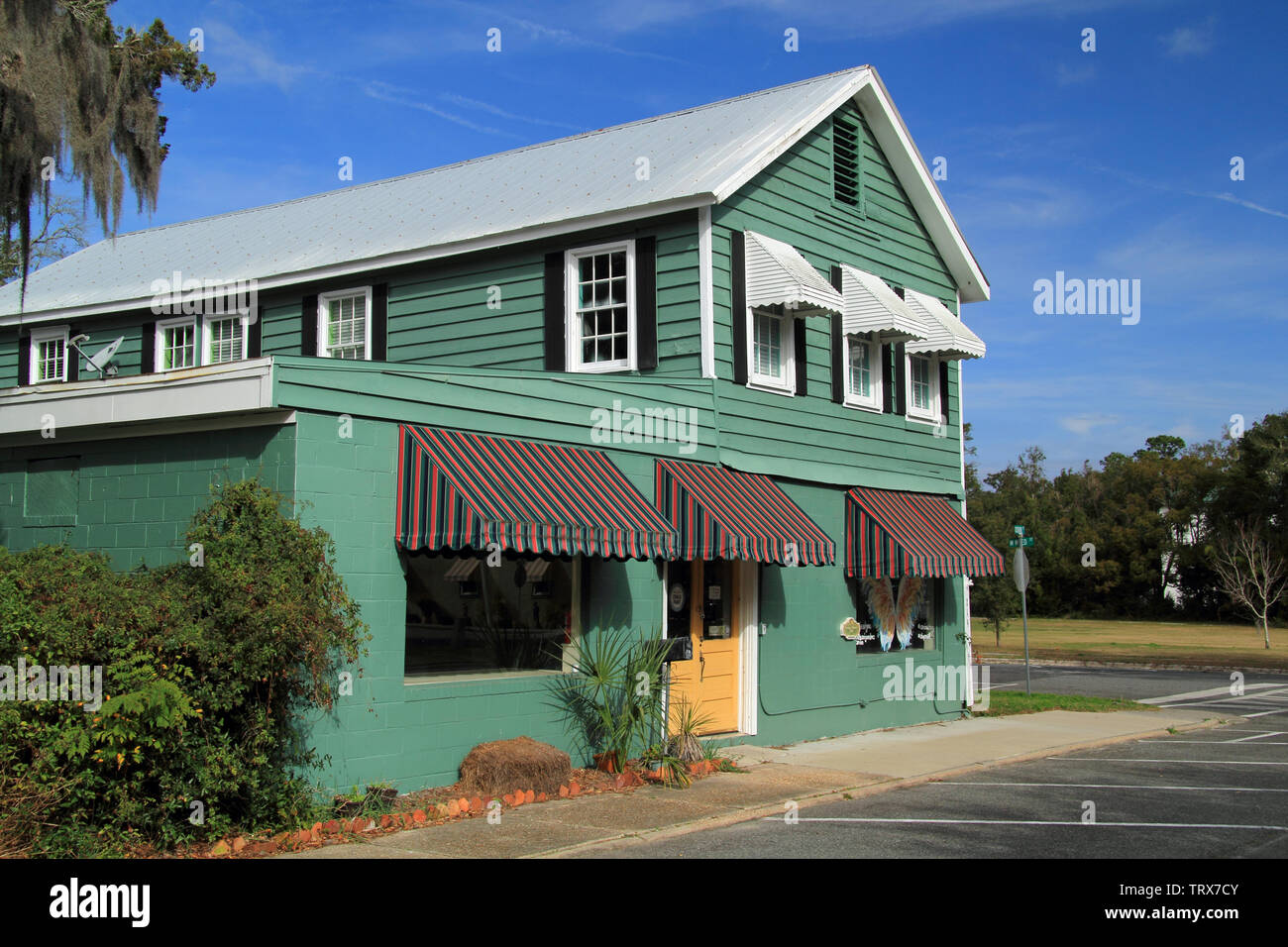 The St. Marys Historic District, located in the state of Georgia, is notable for its significant collection of old homes and businesses Stock Photo